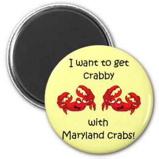 Maryland crabs 6 cm round magnet