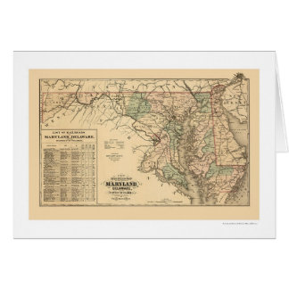 Maryland & Delaware Railroad Map 1876 Card