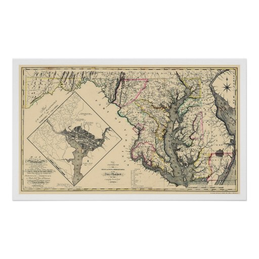 Maryland Detailed Map 1795 Print