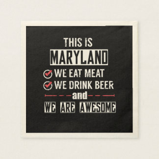 Maryland Eat Meat Drink Beer Awesome Disposable Napkin