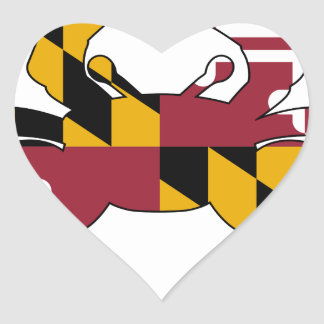 Maryland Flag Crab Heart Sticker