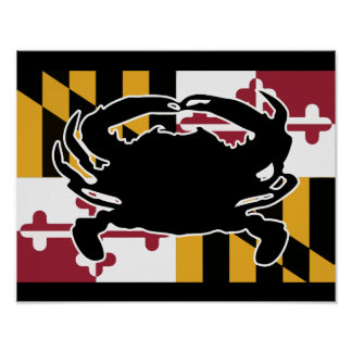 Maryland Flag/Crab poster - black