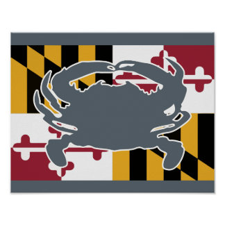 Maryland Flag/Crab poster - grey