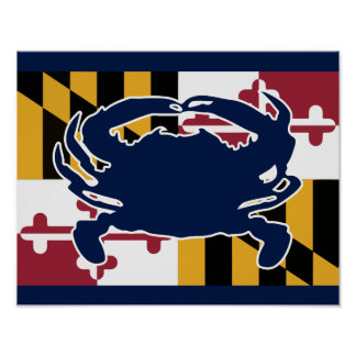 Maryland Flag/Crab poster - navy blue