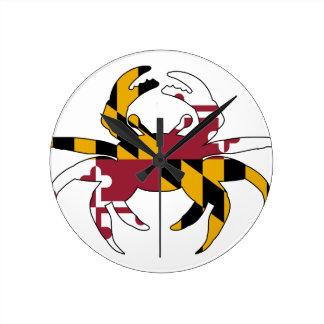 Maryland Flag Crab Round Clock