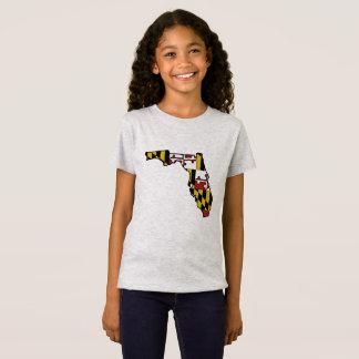 Maryland flag Florida outline girls tshirt