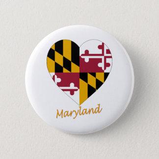 Maryland Flag Heart 6 Cm Round Badge