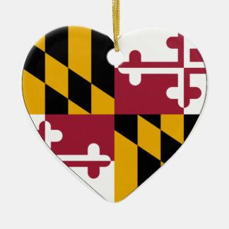 Maryland Flag Heart Christmas Ornament