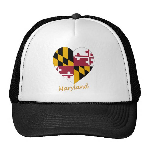 Maryland Flag Heart Mesh Hat