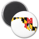 Maryland Flag Map 6 Cm Round Magnet