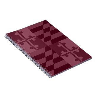 Maryland Flag Monochromatic note book - burgandy