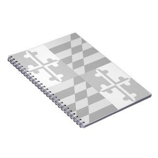 Maryland Flag Monochromatic note book - white