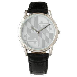 Maryland Flag Monochromatic watch - white