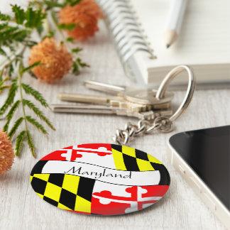 Maryland -  FLAG - Name Basic Round Button Key Ring