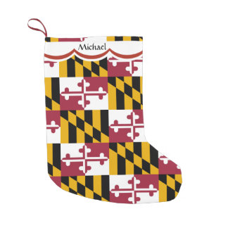 Maryland Flag Pattern Personalized Small Christmas Stocking
