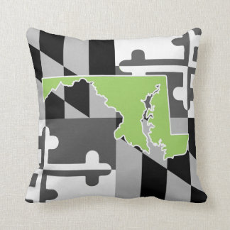 Maryland Flag/State greyscale pillow - lime green