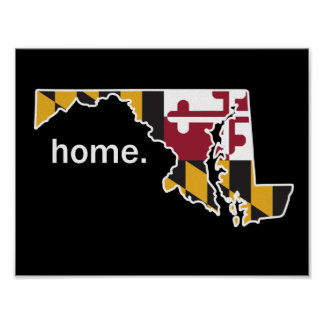 Maryland Flag/State home poster - black