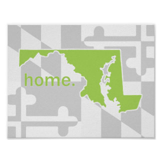 Maryland Flag/State pop of color - lime green Poster