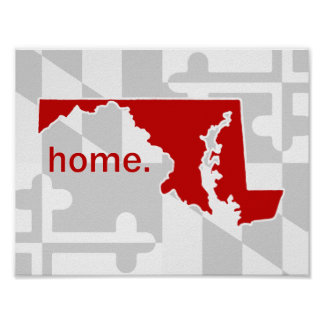 Maryland Flag/State pop of color - red Poster