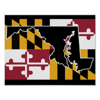 Maryland Flag/State poster - black