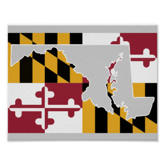 Maryland Flag/State poster - light grey