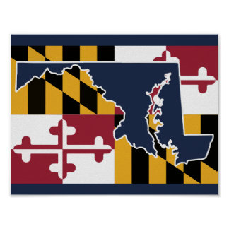 Maryland Flag/State poster - navy blue