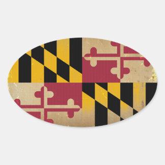 Maryland Flag VINTAGE.png Oval Sticker