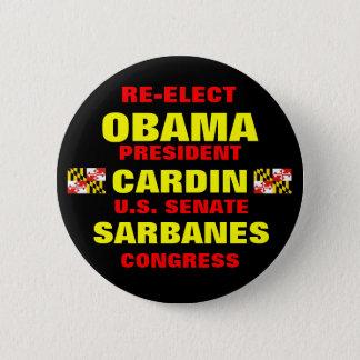 Maryland for Obama Cardin Sarbanes 6 Cm Round Badge