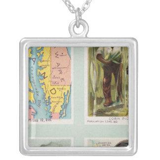 Maryland, Georgia, Illinois, Pennsylvania Silver Plated Necklace