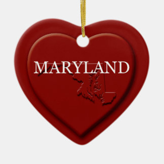 Maryland Heart Map Christmas Ornament