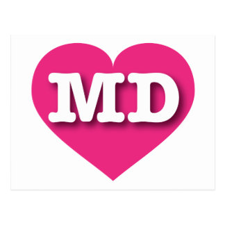 Maryland Hot Pink Heart - Big Love Postcard