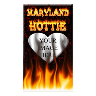 Maryland Hottie fire and red marble heart. Pack Of Standard Business Cards