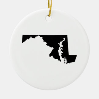 Maryland in Black and White Christmas Ornament