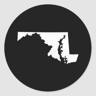 Maryland in White and Black Classic Round Sticker