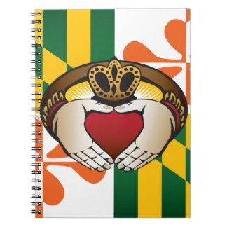 Maryland Irish Claddagh Flag Spiral Notebook