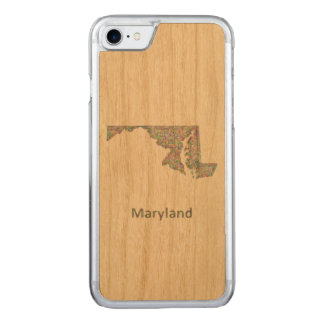 Maryland map carved iPhone 7 case
