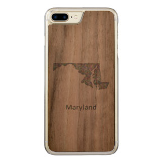Maryland map carved iPhone 7 plus case