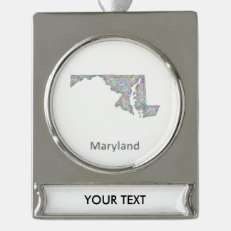 Maryland map silver plated banner ornament