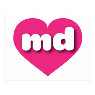 Maryland md hot pink heart postcard