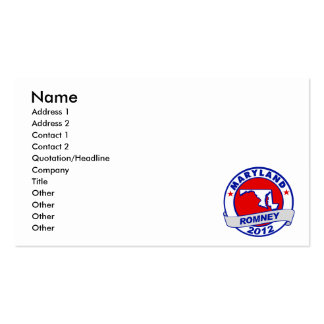 Maryland Mitt Romney Business Card Template