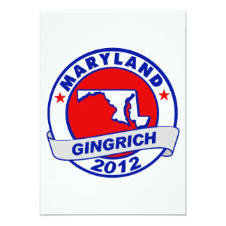 """Maryland Newt Gingrich 5"""" X 7"""" Invitation Card"""