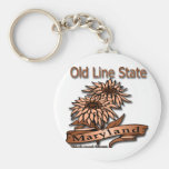 Maryland Old Line State Flowers Basic Round Button Key Ring