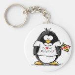 Maryland Penguin Basic Round Button Key Ring