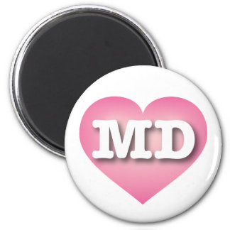 Maryland pink fade heart - Big Love 6 Cm Round Magnet