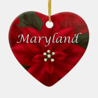 Maryland Red Poinsettia Heart  Keepsake Ornament