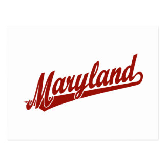 Maryland script logo in red postcards