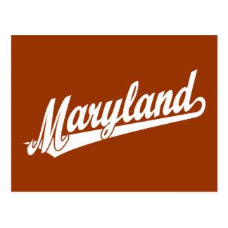 Maryland script logo in white postcards