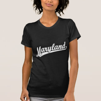 Maryland script logo in white t shirt