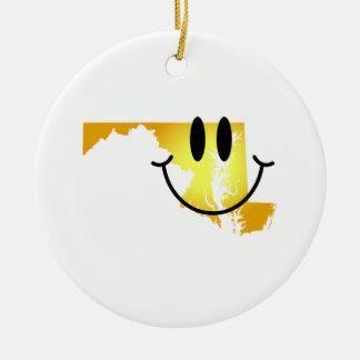 Maryland Smiley Face Round Ceramic Decoration
