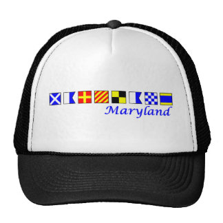 Maryland spelled in nautical flag alphabet cap